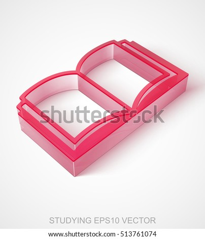 Learning icon: extruded Red Transparent Plastic Book with transparent shadow, EPS 10 vector illustration.