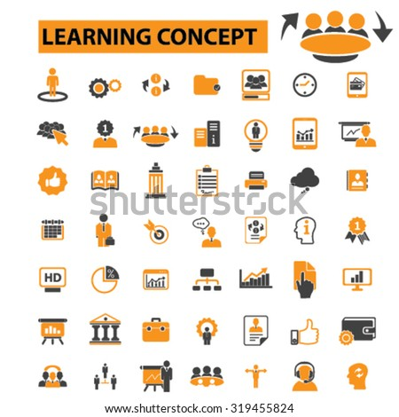 learning icons - stock vector