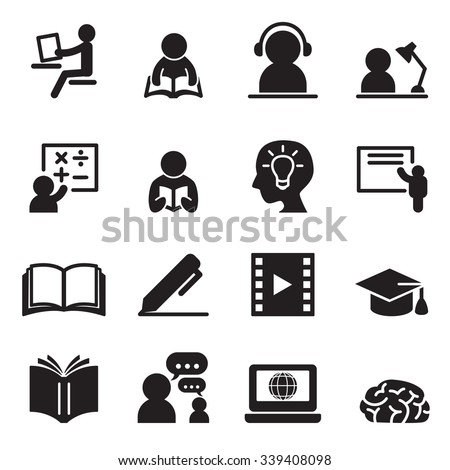 Learning icons set - stock vector