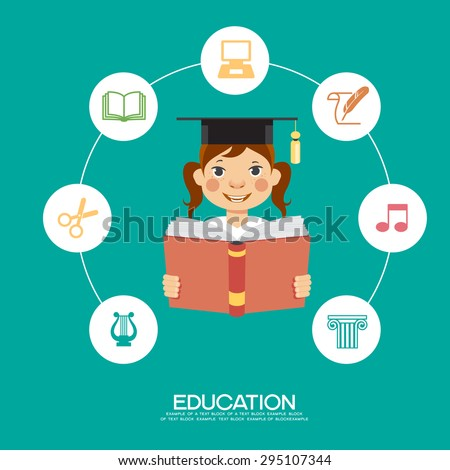 Learning infographic Template. Concept  education. Child with a book surrounded by icons of education. - stock vector