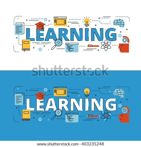Learning lettering flat line design with icons and elements for book cover, report header, presentation,illustration, infographics, printing, website banner and landing page. - stock vector
