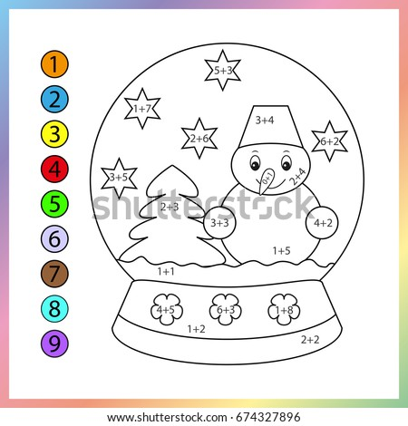 Learning mathematics worksheet. Need to paint image in relevant color. Game for kids