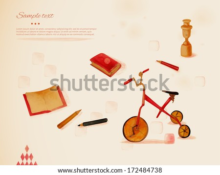 Learning through play. Toys, pencils and notebook. Background. Eps 10 - stock vector