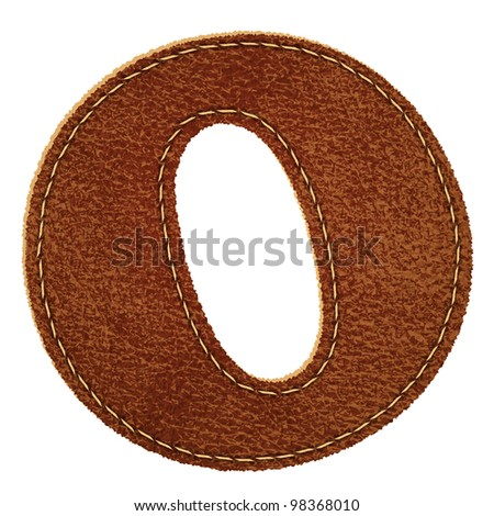 Leather alphabet. Leather textured letter O. Vector eps10 background - stock vector