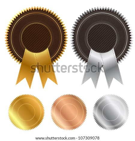 Leather And Metal Stamped Signs, Isolated On White Background, Vector Illustration - stock vector