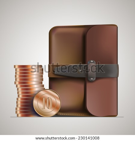 leather briefcase & money - stock vector