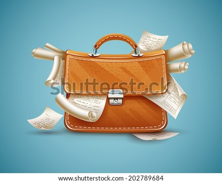 Leather briefcase of busy businessman full of papers and documents. Eps10 vector illustration - stock vector