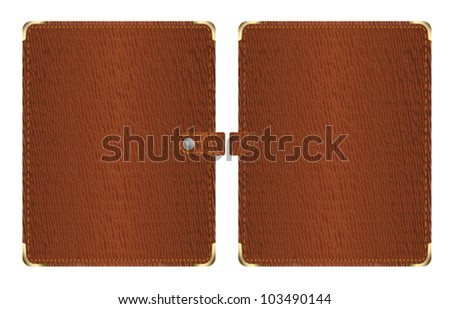 leather closed organizer isolated on white background - stock vector