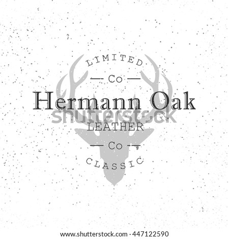 Leather company logo. Deer head silhouette on grunge texture. Vector illustration. - stock vector