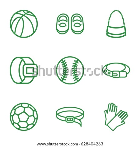 Leather icons set. set of 9 leather outline icons such as baby shoes, belt, gloves, bag, basketball, baseball
