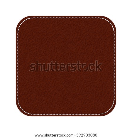 Leather label. Brown shield with stitch. Vector illustration isolated on white background.