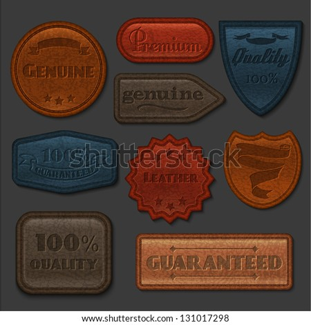 Leather labels collection - eps10 - stock vector