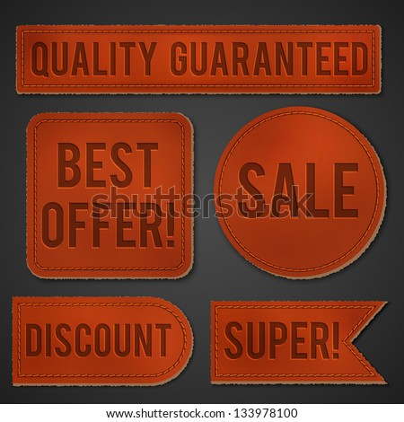 Leather labels set - eps10 - stock vector