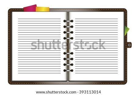 Leather notebook on rings - stock vector