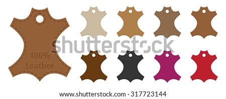 Leather Tags Set with Colors - stock vector