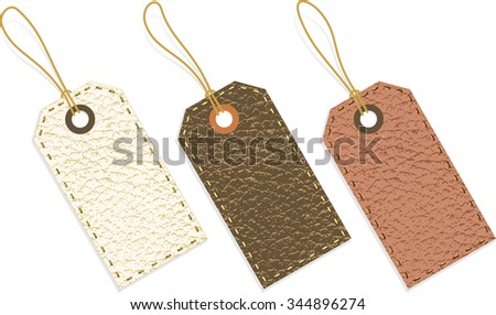 Leather Tags-vector illustration of leather textured tag set