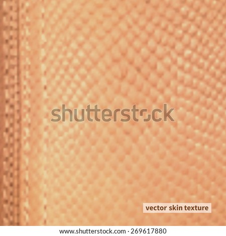 Leather texture closeup for background ocher color - stock vector