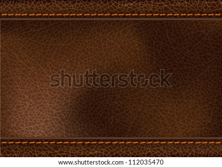 Leather texture with stitching. Vector illustration of realistic brown leather with stitching. Transparency effects used (multiply and soft light). EPS 10 file. - stock vector