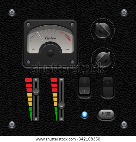 Leather UI Application Software Controls Set. Switch, Knobs, Button, Lamp, Volume, Equalizer, Voltmeter, Speedometr, Indicator, Detector, LED. Web Design Elements. Vector User Interface EPS10