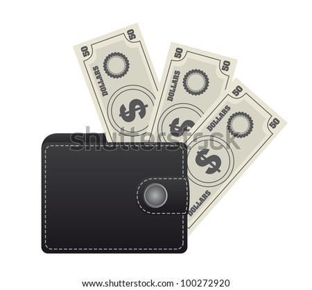 leather wallet with bills isolated over white background. vector