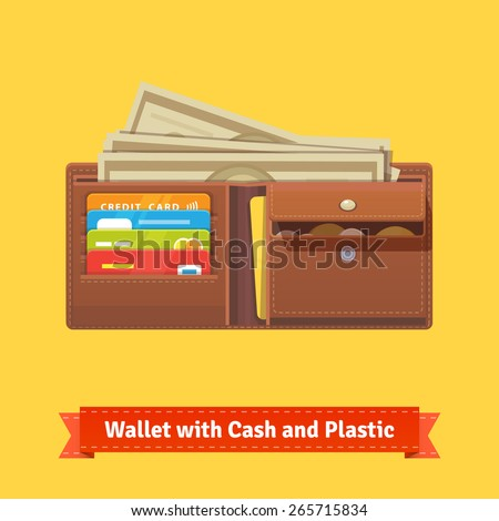 Leather wallet with some money, credit cards and coin pocket. Flat style vector illustration. - stock vector