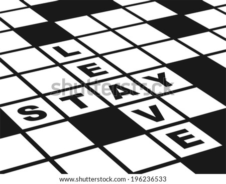 Leave or Stay. Illustration of  a conceptual crossword puzzle about leaving or staying.