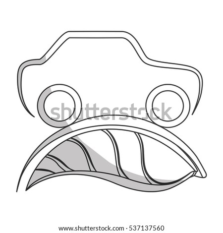 leaves and car icon over white background. eco friendly design. vector illustration