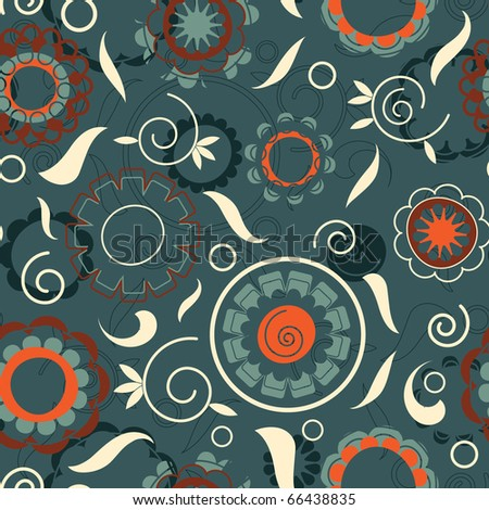 leaves and flowers in seamless pattern - stock vector