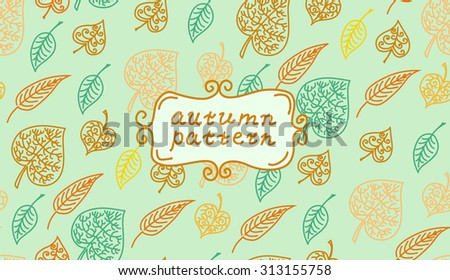 Leaves autumn pattern. In retro style. It contains simple forms of leaves. Color version - stock vector