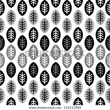 Leaves black and white seamless pattern (vector version) - stock vector