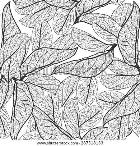 Leaves contours on white background. floral seamless pattern for fabric, wallpaper, pattern fills, web page background, surface textures. hand-drawn. Vector
