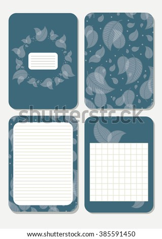 Leaves. Cute pages for notes with cute blue leaves. Notebooks, decals, diary, cards, school accessories. Cute design with seamless patterns with leaves.  - stock vector