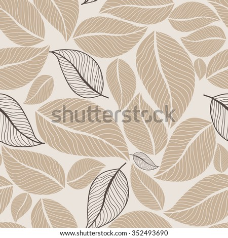 Leaves flowers seamless pattern background. Vector illustration.