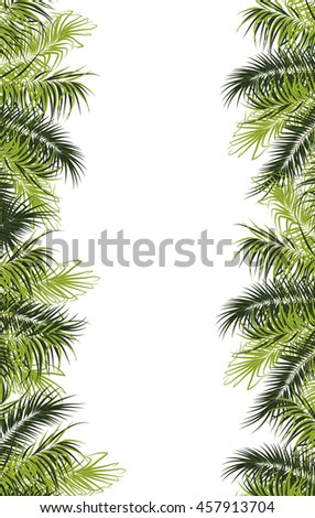 Leaves frame. Tropical greeting or invitation card. Template for banner or label.