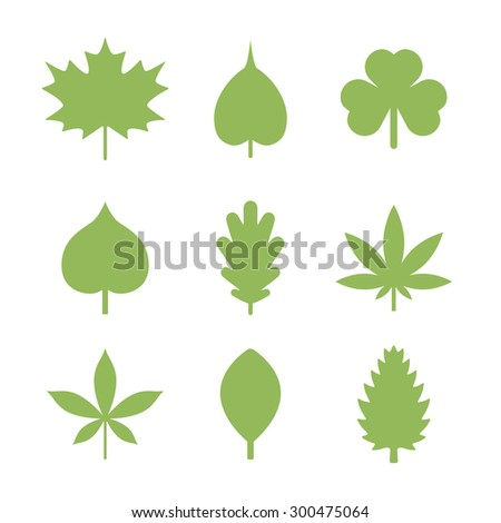 leaves icons - stock vector