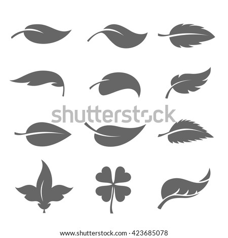 Leaves icons set - stock vector