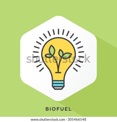 Leaves inside light bulb icon with dark grey outline and offset flat colors.  - stock vector