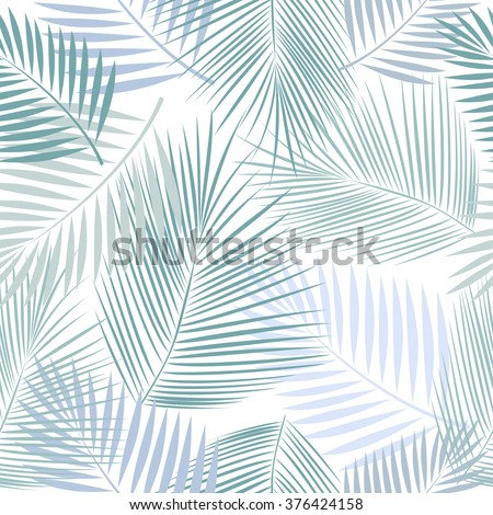 Leaves of palm tree. Seamless pattern. Vector background. - stock vector