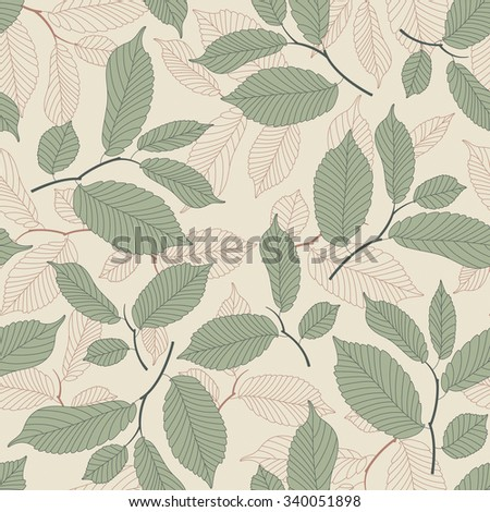 leaves on a beige background in seamless pattern