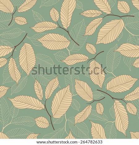 leaves on a blue background in seamless pattern