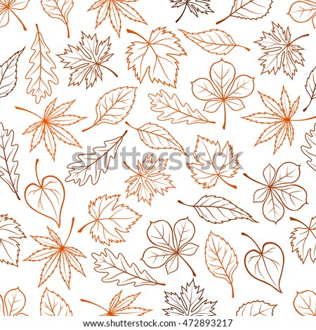 Leaves outline seamless background. Autumn foliage wallpaper with vector pattern of leaf silhouette icons maple, oak, birch, aspen, chestnut, elm, poplar