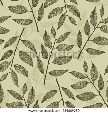 Leaves pattern, vector seamless leafs background