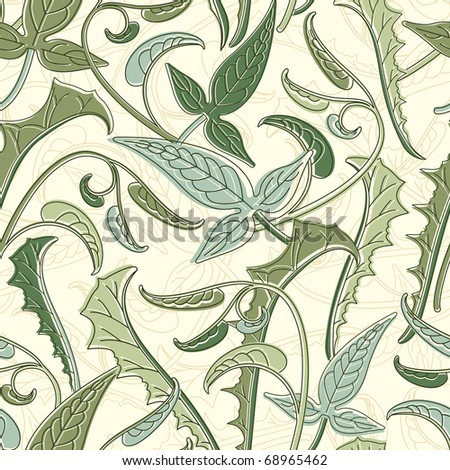 leaves pattern with colour displacement - stock vector