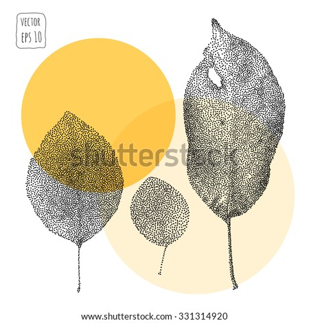 Leaves. Pattern with leaf. Hand Drawn vector  - stock vector