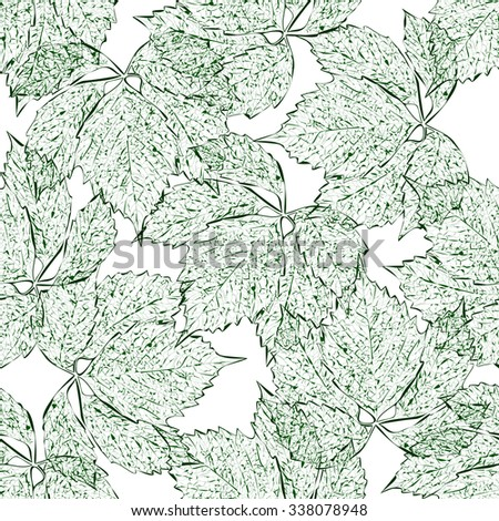 Leaves seamless pattern. Green leaves. The contours on white background. Hand drawn. Vector illustration.