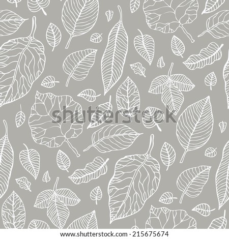 Leaves. Seamless pattern with leaf. Hand Drawn vector pattern. - stock vector