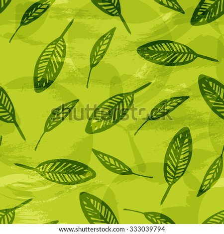Leaves texture, green natural seamless pattern. Vector background with hand drawn ink leaf, repeated fabric texture for spring summer woman fashion.