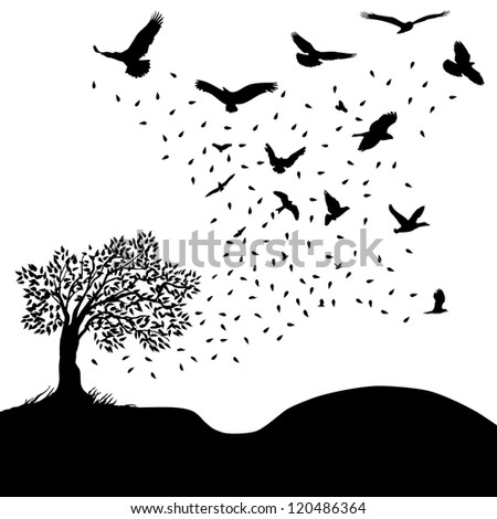 Leaves to birds - stock vector