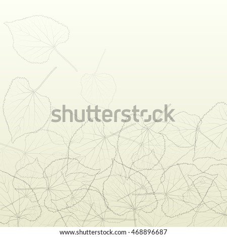 Leaves transparent background vintage illustration abstract vector with outlines and leaf veins structure