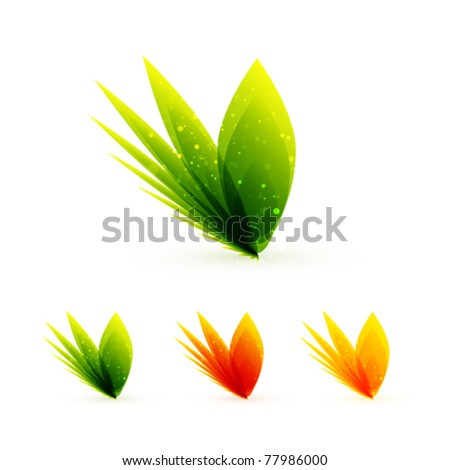 Leaves. Vector abstract icons - stock vector